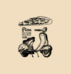 Pizza delivery scooter sketched retro vector