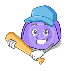 Playing baseball blueberry roll cake character vector