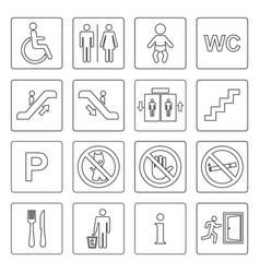 Public icon basic set outline vector