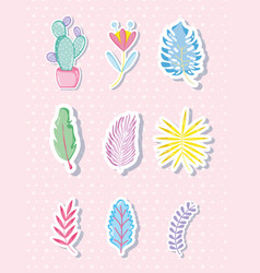 Punchy pastels leaves collection vector