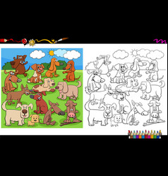 Puppies and dogs characters group coloring book vector