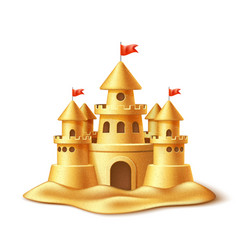 realistic sand castle fort fortress towers vector image