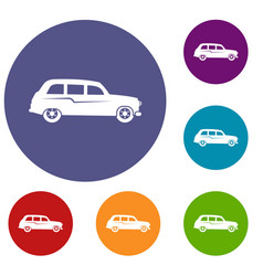 retro car icons set vector image