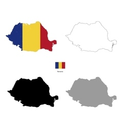 Romania country black silhouette and with flag on vector