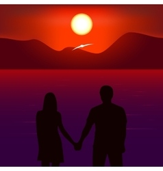 Romantic sunset vector image