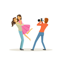 Romantic young couple guy holding girl in his vector