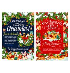 santa sleigh with gift and snowman christmas card vector image