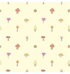 Seamless of mushrooms set vector