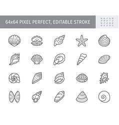 Seashell oyster scallop line icons vector