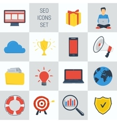 SEO square 15 icons vector image