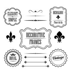 set decorative frames borders and dividers vector image