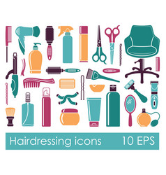 Set flat icons hairdressing accessories vector