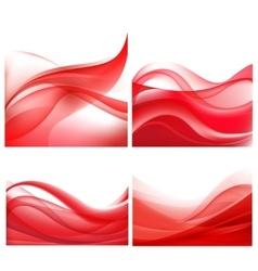 Set of red wavy abstract backgrounds vector