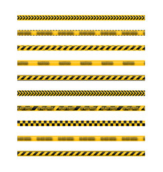 Set of seamless yellow and black warning tapes vector