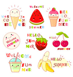 set of summertime icons with cute fruits vector image
