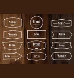 set vintage style frame labels and elements vector image