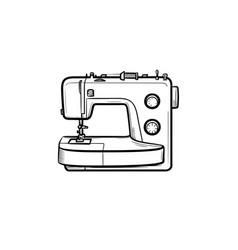 Sewing-machine hand drawn sketch icon vector