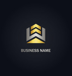 shape abstract building realty gold logo vector image