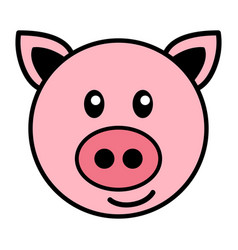 simple cartoon a cute pig vector image
