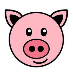 Simple cartoon of a cute pig vector