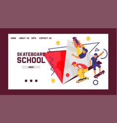 skateboard school banner web design cards vector image