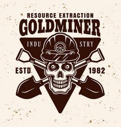 Skull miner in helmet and two shovels vector