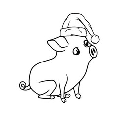 small piglet with curious expression sitting vector image