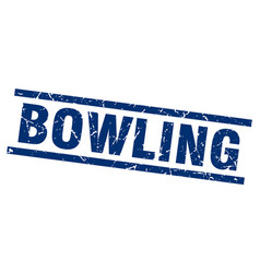 Square grunge blue bowling stamp vector