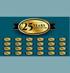 Styligh golden anniversary label design vector