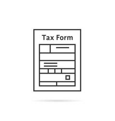 Thin line tax form icon with shadow vector