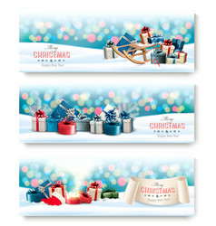three holiday christmas banners with presents vector image