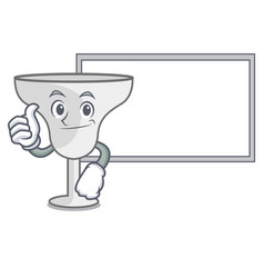 thumbs up with board margarita glass character vector image