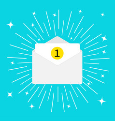 Unread mail notification with number marker email vector