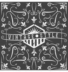 Vintage grunge label with swirls and flowers vector