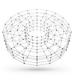 Wireframe polygonal geometric element Torus with vector image