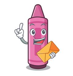 with envelope pink crayons in cartoon school bag vector image