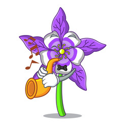 With trumpet columbine flower mascot cartoon vector