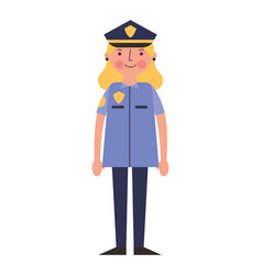 woman police officer in uniform character vector image