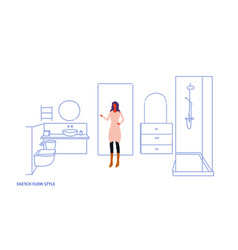 Woman standing modern bathroom interior female vector