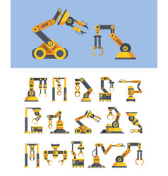 yellow robotic arms flat set vector image