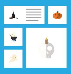 flat icon halloween set of magic cranium witch vector image vector image