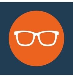 Glasses orange emblem over blue background icon vector