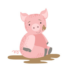pig in mud cute toy animal with detailed elements vector image vector image