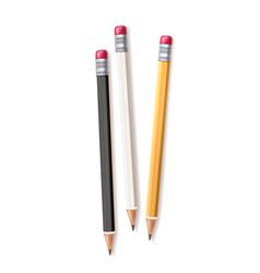 realistic wood pencil set rubber eraser vector image