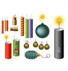 set of firecrackers vector image vector image