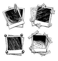 Vintage doodle photo frames vector image