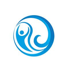 abstract circle human wave logo image vector image vector image