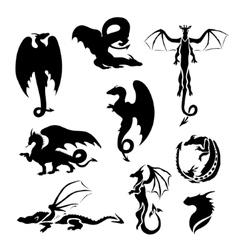 Big set of dragons vector image