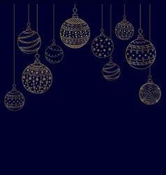 christmas card from hand drawing golden christmas vector image