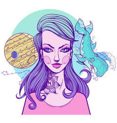 girl symbolizes the zodiac sign pisces pastel vector image vector image